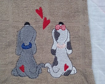 Dogs in love towel