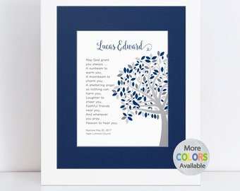 Unique Baptism Gift Boy, Personalized Dedication Gift, Christening Gift, Tree PRINT, Irish Blessing May God grant you always, a sunbeam . .
