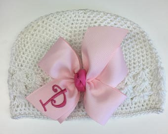 Baby Hat, Monogram Hair Bow, Initial Custom, Boutique, Take home cap, Personalized New, Girls Gift, Pink Beanie Girly hospital, Infant Child