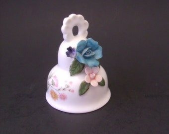 Vintage Porcelain Bell with Applied Flowers, Brinn's, Mothers Day Gift