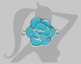 23mm turquoise enamel Camellia flower connector