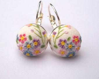 White Earrings Embroidery Earrings Clay Applique Gift for Her Filigree Earrings Polymer Clay Jewelry Wedding Earrings Art Deko Earrings