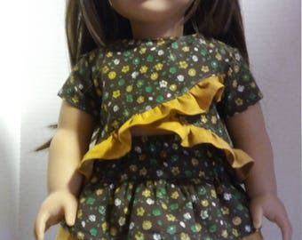 """Fits 18"""" Dolls- 2 Piece Outfit (Brown Floral)"""
