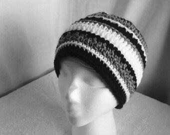 Crochet PATTERN - October Hat, easy crochet hat pattern, striped crochet hat, crochet mens hat pdf, easy crochet beanie pattern, crochet pdf