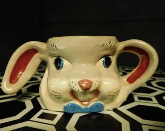 "Vintage 50's Easter Ceramic Child Rabbit  Mug ""Jimmie"" Painted on Back of Mug"