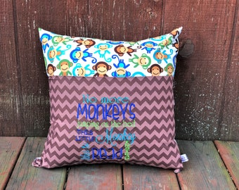 Monkey Book Pillow - Monkies - Book Pocket Pillow - Gift for Readers - Christmas Gift - Reading Lover - Gift for Boys - Young Reader