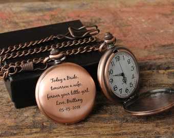 Today a Bride Tomorrow a Wife, Father Daughter gift, Pocket Watch, Father of the Bride, Gifts for Dad from Daughter, Pocket Watch Chain