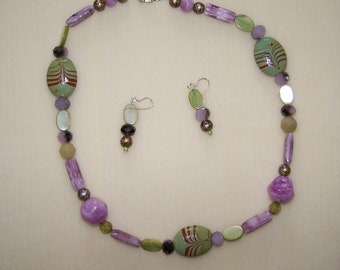 Lavender and Green Necklace set
