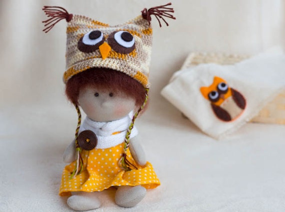 Items Similar To Dressed Litlle Owl Doll Owl Hat Small