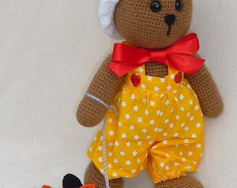 Bear yellow overalls and his toy - crochet blanket