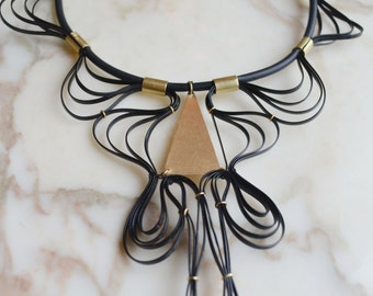 One of a Kind Black and gold bib statement necklace, Waves, chic modern lace