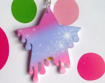 Kitsch kawaii fairy kei pastel melting star cosmic space mystical laser cut charm necklace pendant