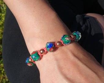 Green and pink bracelet