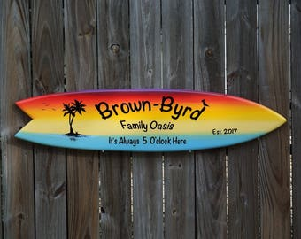 Tiki bar Decor. Family Oasis wood sign. Beach House wood gift. Its 5 O'clock somewhere. Family/Mother's day unique gift. Surfboard art.