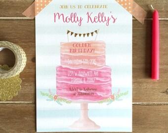 Sweet 16 birthday invitation, sweet sixteen party, golden birthday, wedding shower, baby shower invitation, girls birthday party, bridal