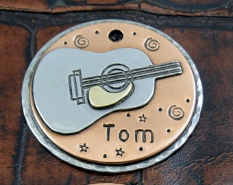 Acoustic Guitar, Custom-Pet-ID-Tag-Dog-Tag-Personalized-ID-Tag-Dog Collar Tags
