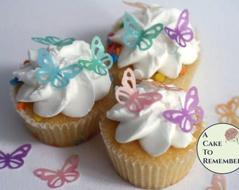 "36 edible butterfly cupcake topper, small 1"" lacy ones for cake decorating, cookies, cake pops. Wafer paper butterflies, wedding cake topper"
