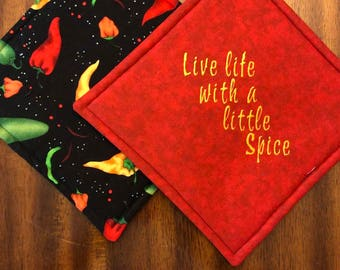 Hot Chili Pepper Embroidered Hot Pads/Pot Holders