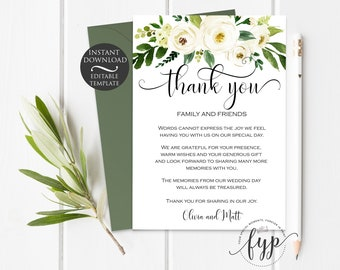 Greenery Thank You Card Template | Editable Instant Download