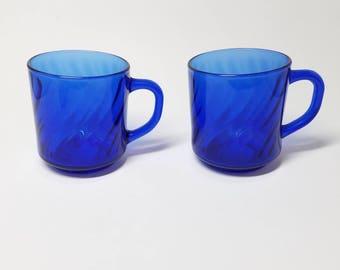 Arcoroc France Cobalt Sapphire Blue Swirl Coffee Mugs