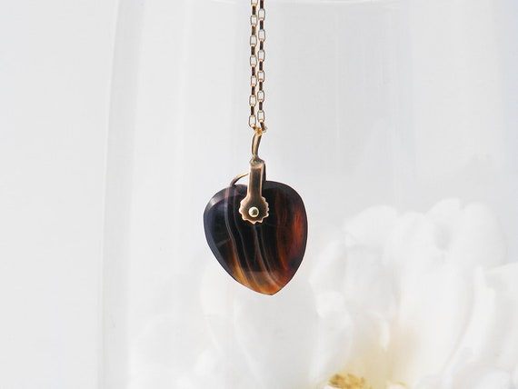 Antique Heart Pendant | Georgian or Early Victorian Banded Agate Heart Charm Necklace - 20 inch Chain