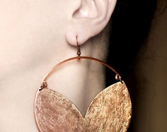Big earrings Boho earrings Statement hook earrings Oversized hoop earrings Large chunky jewelry African earring Birthday gift Copper dangles