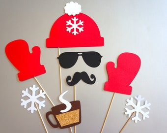 Winter Photo Booth Props - 8 piece set - GLITTER Photobooth Props - Mittens, Hat, Snow - Red