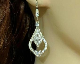 Victorian Bridal Earrings, Vintage Style Wedding Earrings, Cubic Zirconia Cz Wedding Jewelry, Silver Bridal Jewelry, Gift for Her, ARABIA