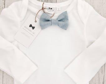 Chambray blue bow tie white cotton bodysuit