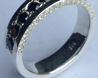Half Pave Silver Ring