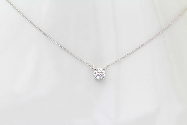 14k white gold round soliatire diamond necklace diamond necklace 14k white gold round soliatire diamond necklace diamond necklace pendant 05 ct round cut gold necklace aloadofball Choice Image