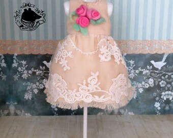Spring summer dress with french lace and hand made and dyed wool roses for Blythe / Pullip