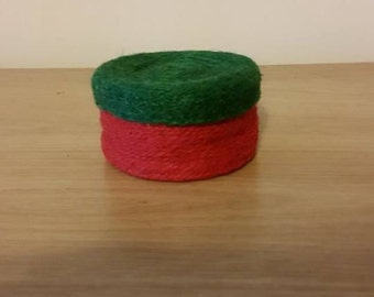 Red and Green Round Twine Container/Tub with Lid.