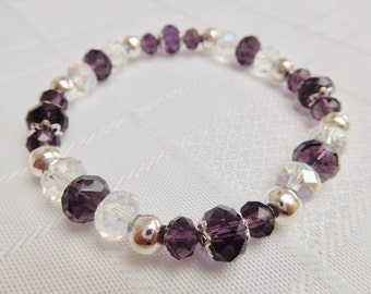 Purple & Silver Crystal Rondelle Stretch Bracelet, Clear Crystal Bracelet, Purple Bracelet, Silver Bracelet, Stacking Bracelet, Gift For Her