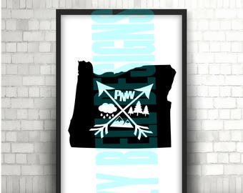 Oregon State PNW Arrows, Print File, Digital Download, Instant Download, Cricut Cut Files,  OR State, Pacific NW Outdoors