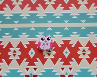 The OWL in fuchsia and pink 2 holes wood button