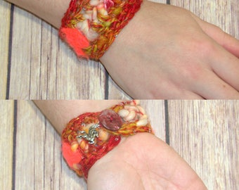 Crochet Bracelet - Fiber Art Jewelry - Crochet Jewelry - Upcycled Jewelry - Repurposed Jewelry -Gifts Under 20 - Boho Jewelry For Women