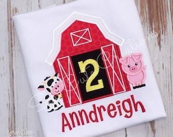 Barn Birthday Shirt, Farm birthday shirt, farm shirt, barn shirt, Farm animal shirt, Barn animal, Boy Shirt, Girl shirt, sew cute creations