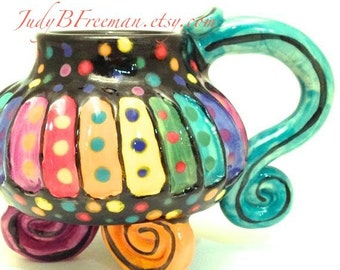 Ceramic Stoneware Mug Rainbow Striped Whimsical 8-10 Ounces Made to Order MG0035