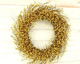 Spring Wreath-Summer Home Decor-LARGE Yellow Berry Wreath-Mantle Fireplace Wreath-Rustic Decor-Gifts-Farmhouse  Home Decor-Housewarming Gift