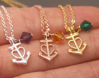 Heart Anchor Necklace, Heart Necklace, 12 Month Birthstone Necklace, Heart Love Necklace, Anchor Jewelry, Bridesmaid Necklace NTRE07