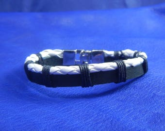 Black and white leather braided mens bracelet, leather cuff, mens leather bracelet,  black leather bracelet, black leather cuff, mens cuff