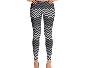 Leggings,Wave,Black,Gray,Womens,Yoga,Workout,Tights,Pants,Stretch,Spandex,Print,Pattern,Stretchy,Clothing,Fashion,Unique,Printed,Girls