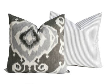 Two high quality Magnolia pillow covers, Slate grey pillow, cushion, decorative throw pillow, decorative pillow, Charcoal grey Pillow