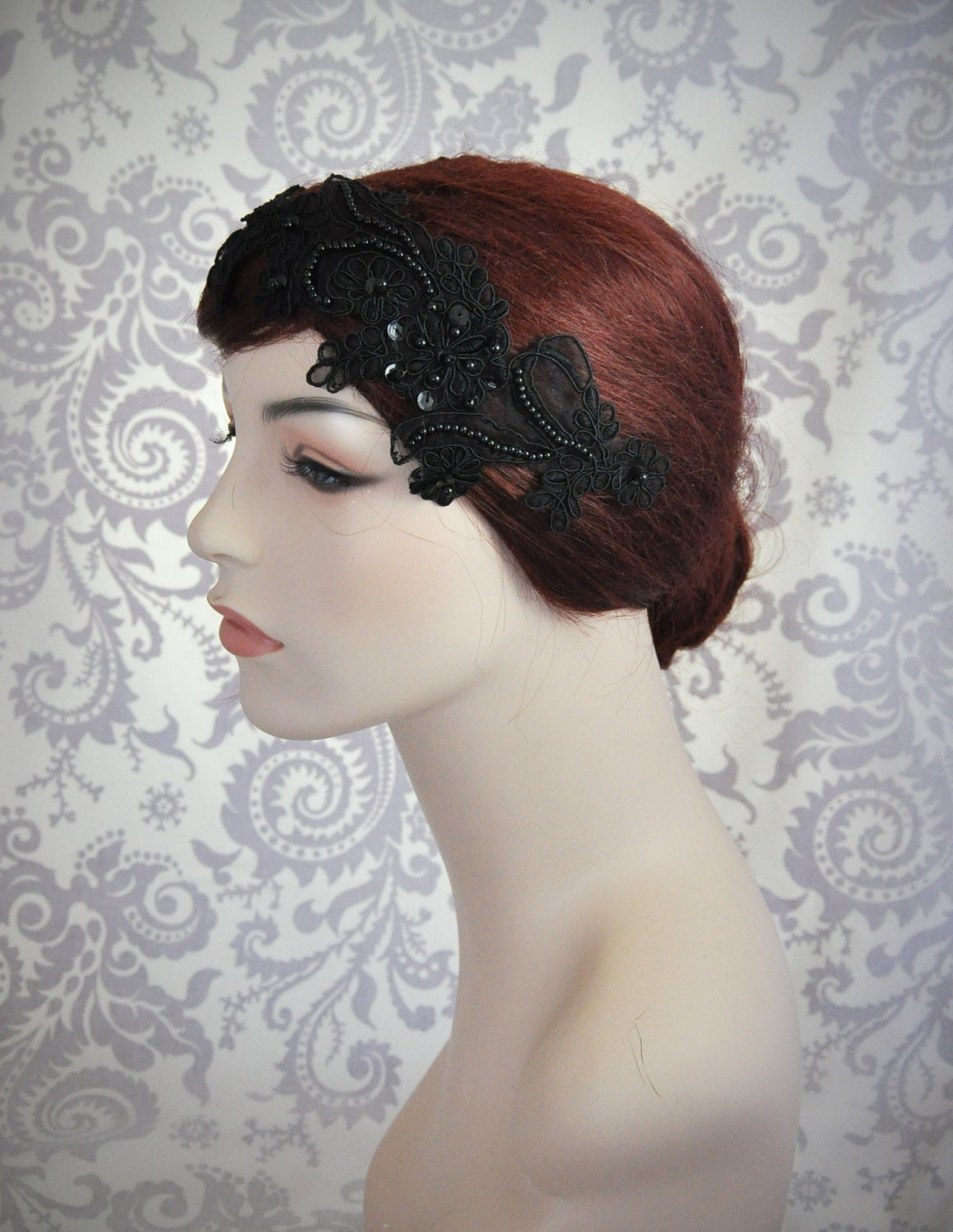 black lace headband black bridal hair accessories black hair
