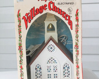 Large Vintage Alpine Village Church in Original Box-American Craftsman Regency-Made in the USA-Light UP Church-Putz House-Church-Church Bell