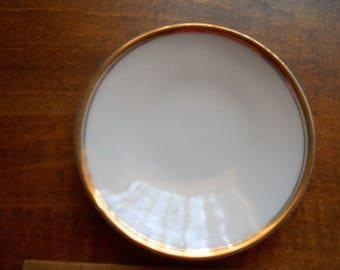 14k Gold edged Butter Pat Plate Vintage White Bone China Shabby Chic P T Bavaria
