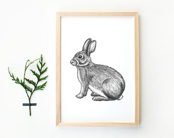 Hand drawn rabbit art print A4, pencil drawing, woodland, animal drawing, poster bunny, black and white print kids, home deco, nature poster