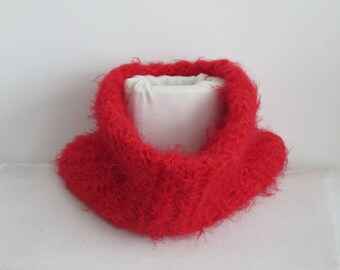 Hand knitted red snood, loop scarf