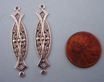 6 silver ox  plated art nouveau  filigree oblong connectors